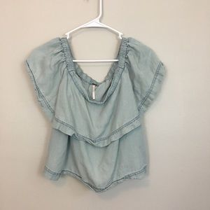 Free People | Denim Off the Shoulder Blouse Small